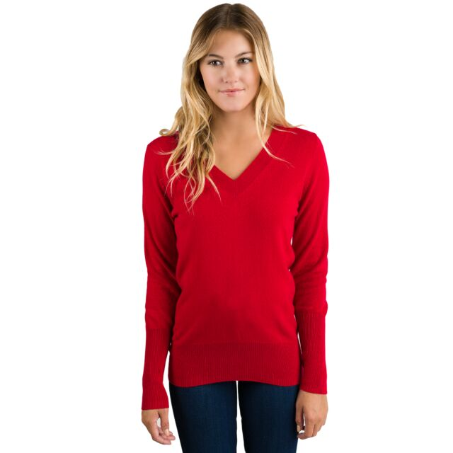 Red Cashmere Long Sleeve Ava V Neck Sweater Front View