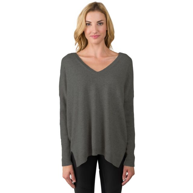 Charcoal Cashmere Oversized Double V Dolman Sweater