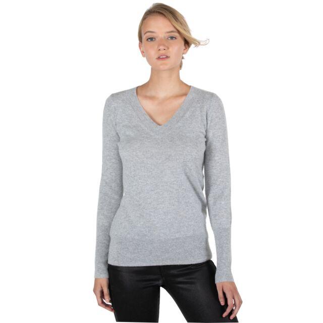 JENNIE LIU Women's 100% Pure Cashmere Long Sleeve Ava V Neck Pullover Sweater