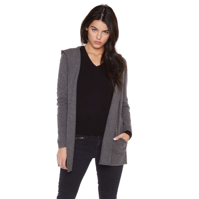 JENNIE LIU Women's 100% Pure Cashmere Hooded Open-front Long Cardigan Sweater