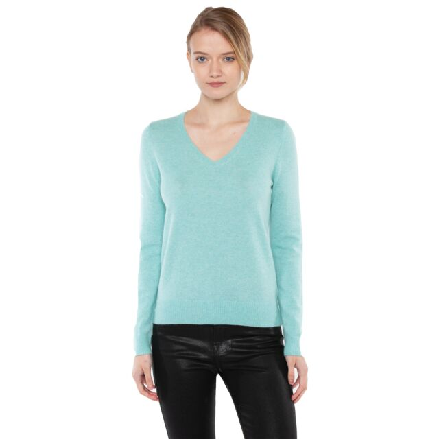 JENNIE LIU Women's 100% Pure Cashmere Long Sleeve Pullover V Neck Sweater(M, Aqua)