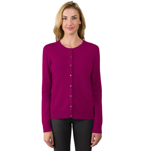 Berry Cashmere Button Front Cardigan Sweater Front View