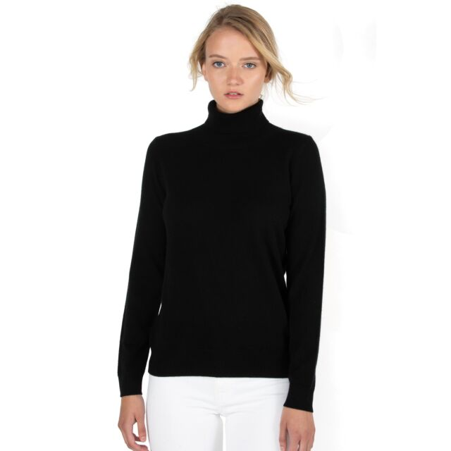 Black Cashmere Long Sleeve Turtleneck Sweater Front View