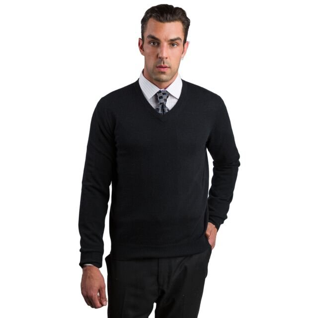 Black Men's 100% Cashmere Long Sleeve Pullover V Neck Sweater Front View