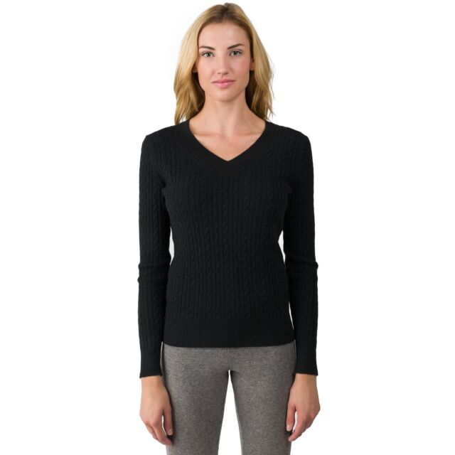 Black Cashmere Cable-knit V-neck Sweater front view