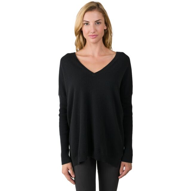 Black Cashmere Oversized Double V Dolman Sweater front view