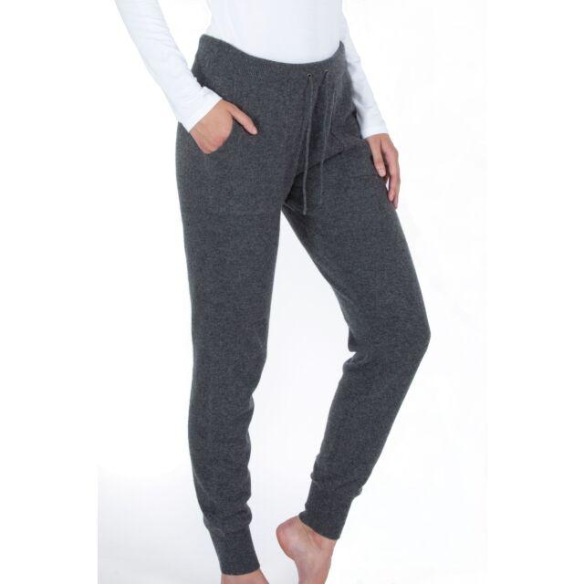 JENNIE LIU Women's 100% Pure Cashmere Knitted Jogger Pants