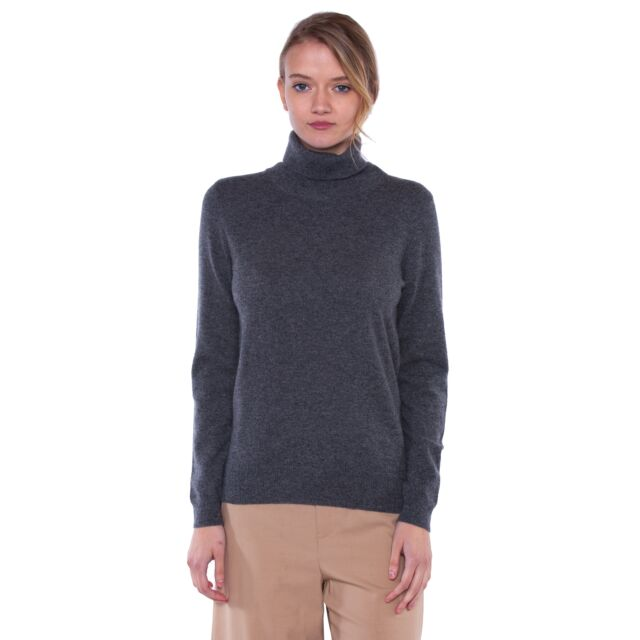 Charcoal Cashmere Long Sleeve Turtleneck Sweater Front View