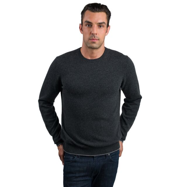 Charcoal Men's 100% Cashmere Long Sleeve Pullover Crewneck Sweater Front View