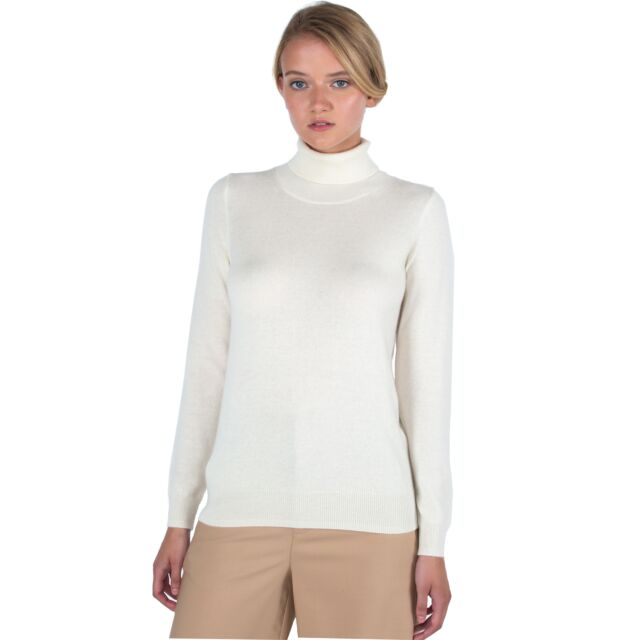 Cream Cashmere Long Sleeve Turtleneck Sweater Front View
