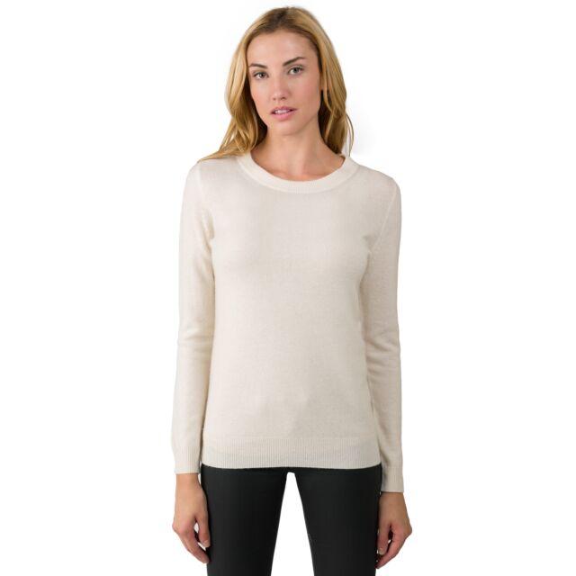 Cream Cashmere Crewneck Sweater front view