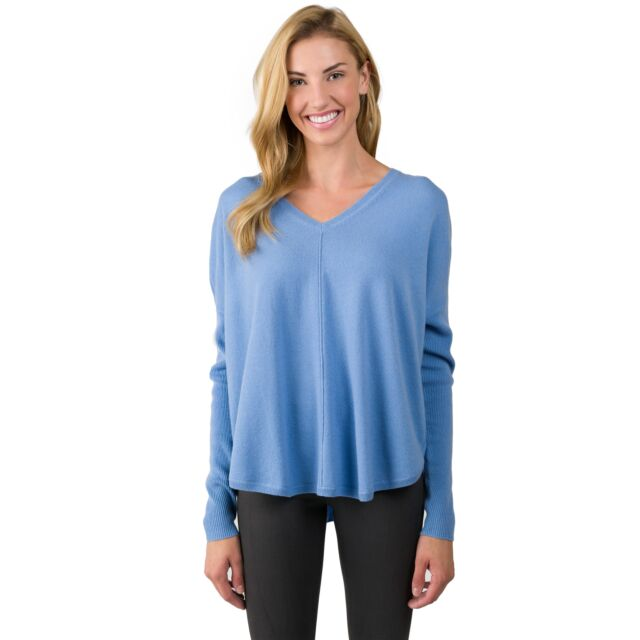 Crystal Blue Cashmere V-neck Circle High Low Sweater front view