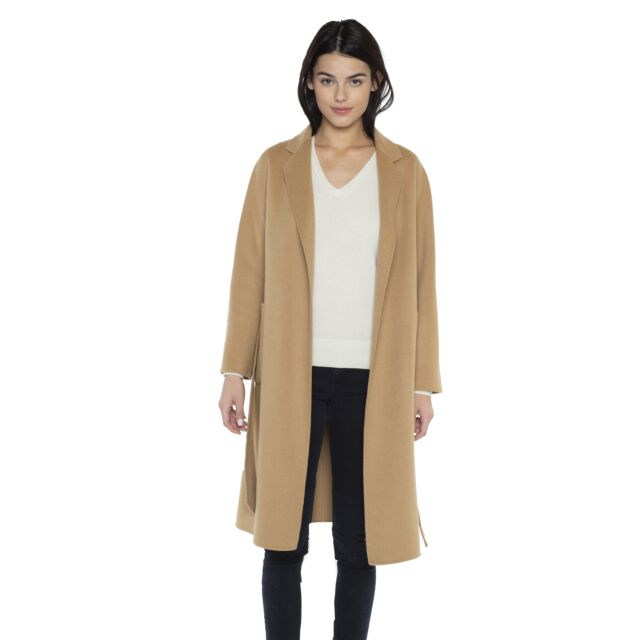 JENNIE LIU Women's Cashmere Wool Double Face Trench Coat with Belt