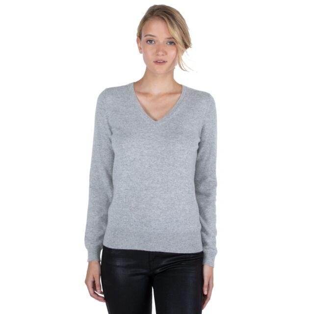 JENNIE LIU Women's 100% Pure Cashmere Long Sleeve Pullover V Neck Sweater(M, Grey)