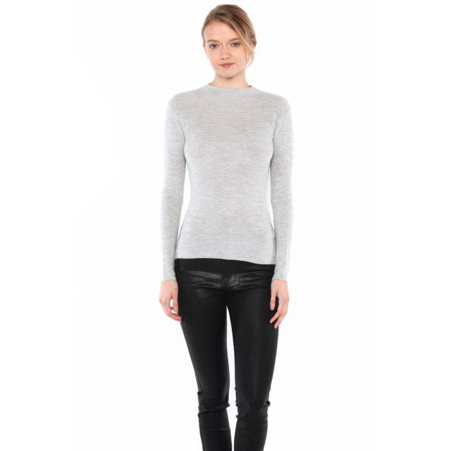 JENNIE LIU Tissue Weight 55% Silk 45% Cashmere Waffle-knit Long Sleeve Mock Funnel Neck Sweater