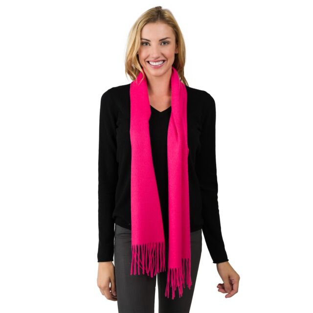 Hot Pink Cashmere Scarf front view