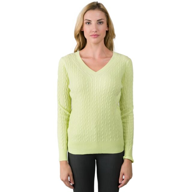 Lemonade Cashmere Cable-knit V-neck Sweater front view