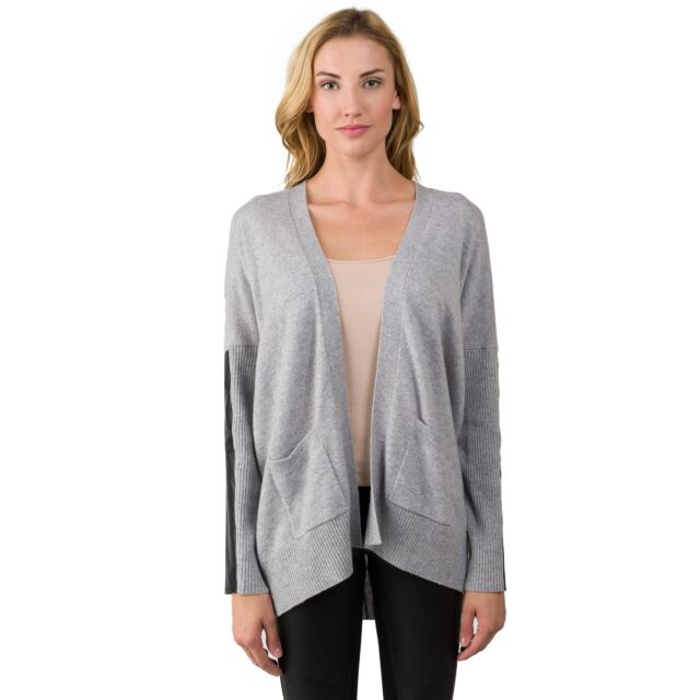 Lt Heather Grey Cashmere Dolman Cardigan Tunic Sweater front view