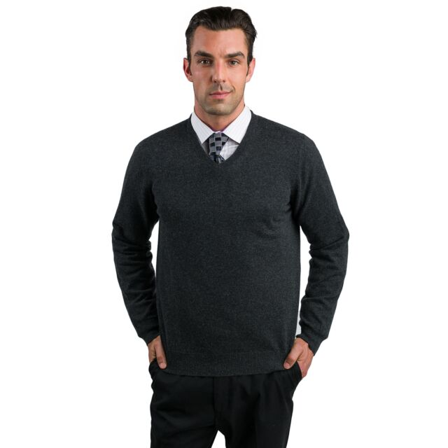 Charcoal Men's 100% Cashmere Long Sleeve Pullover V Neck Sweater Front View