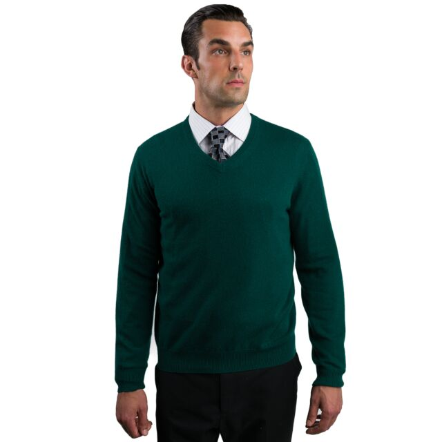 Green Men's 100% Cashmere Long Sleeve Pullover V Neck Sweater Front View