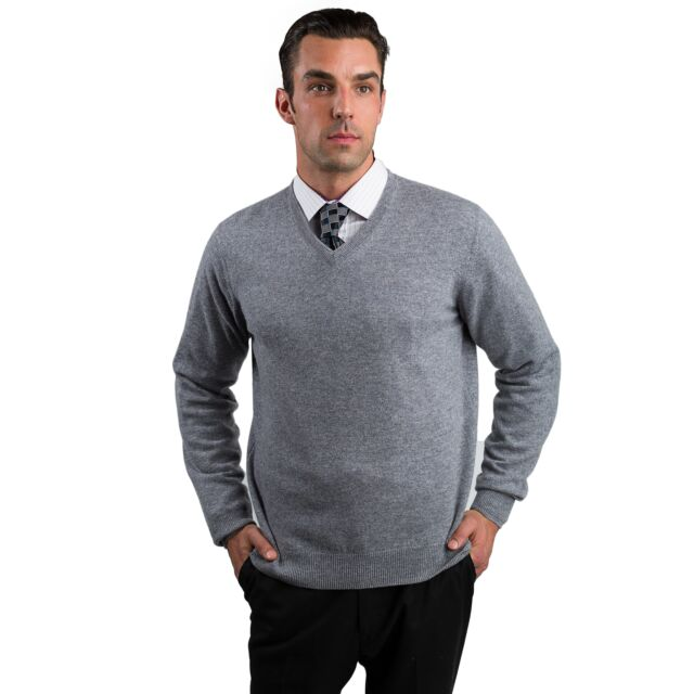 Lt Grey Men's 100% Cashmere Long Sleeve Pullover V Neck Sweater Front View