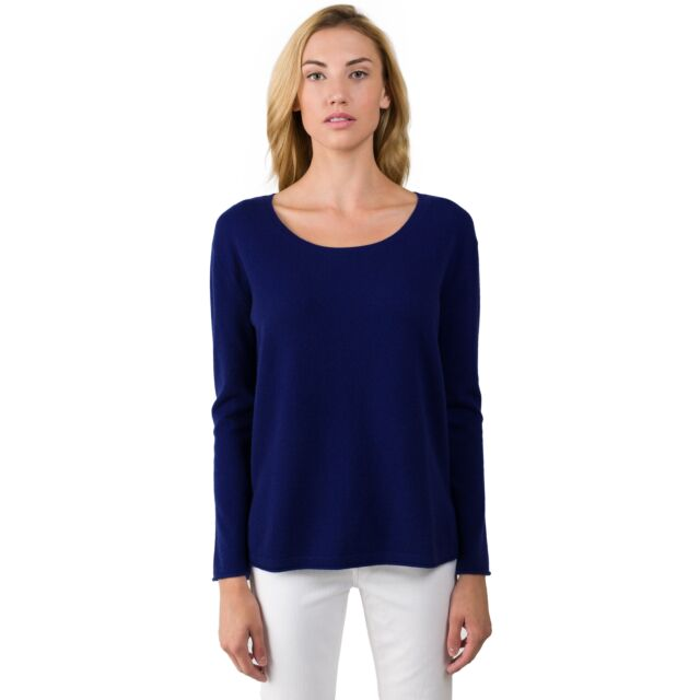 Midnight Blue Cashmere High Low Sweater front view