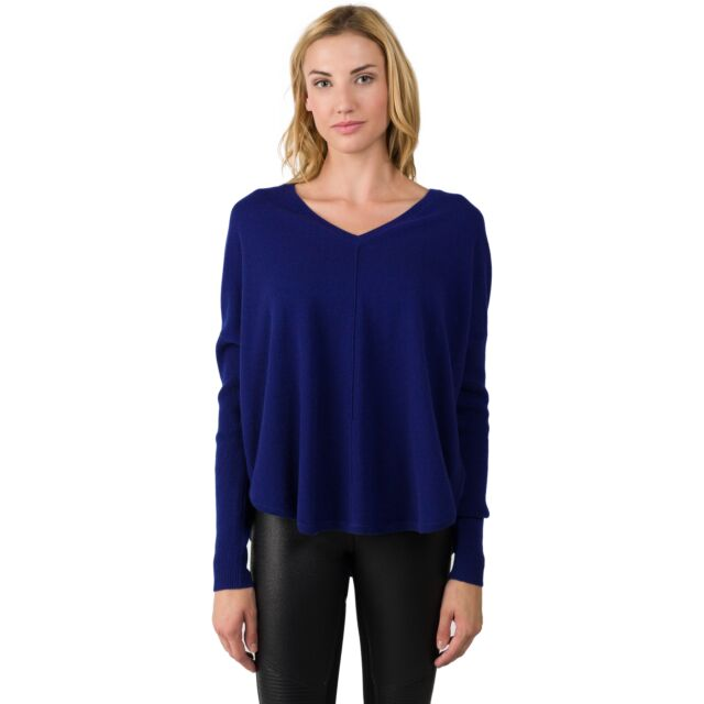 Midnight Blue Cashmere V-neck Circle High Low Sweater front view