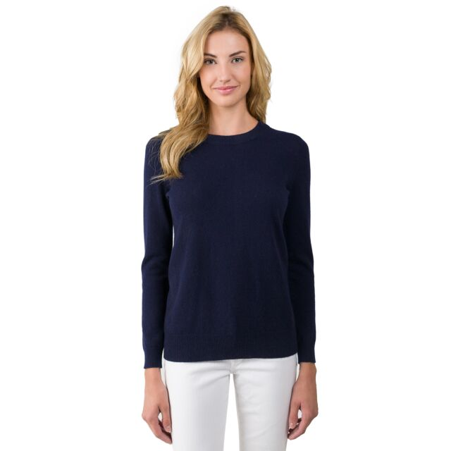 Navy Cashmere Crewneck Sweater front view