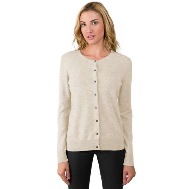 Oatmeal Cashmere Button Front Cardigan Sweater