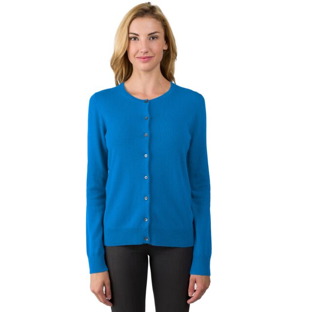 OceanBlue Cashmere Button Front Cardigan Sweater Front View