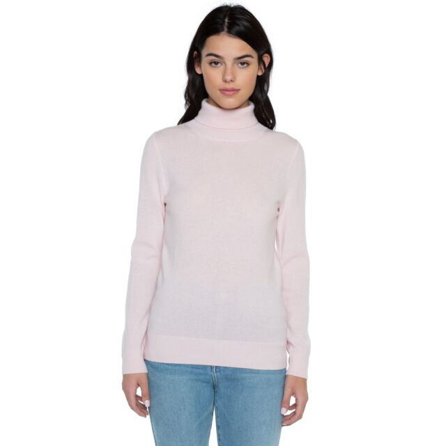 Petal Pink Cashmere Long Sleeve Turtleneck Sweater Front View