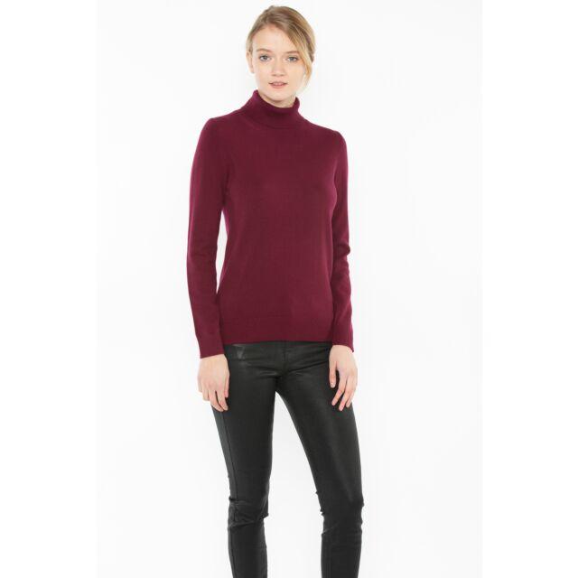 Plum Cashmere Long Sleeve Turtleneck Sweater