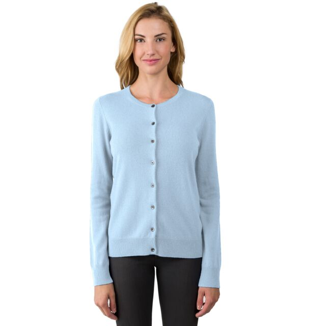 Sky Cashmere Button Front Cardigan Sweater Front View