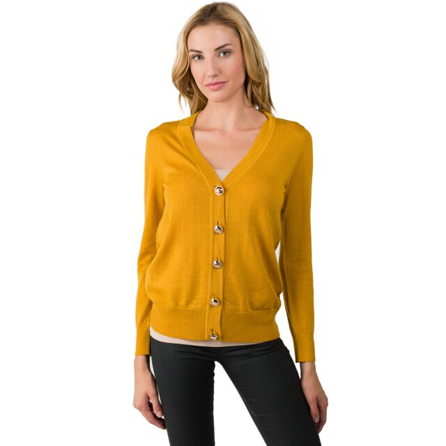 Sun Flower Merino Wool Long Sleeve V Neck Cardigan Sweater Front View