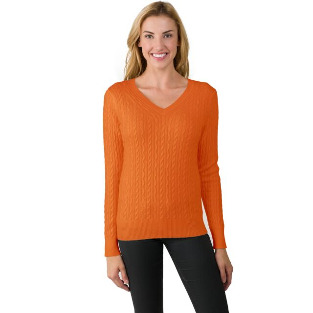 Tangerine Cashmere Cable-knit V-neck Sweater