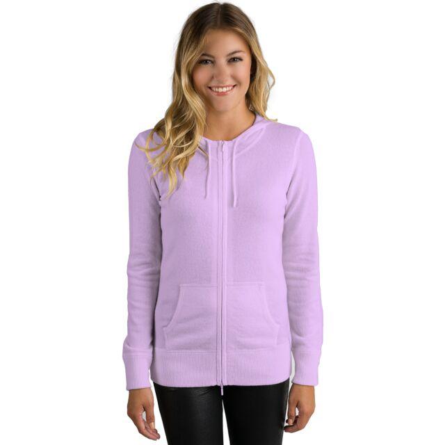 Wisteria Cashmere Long Sleeve Zip Hoodie Cardigan Sweater