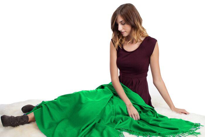 Green Cashmere Throw Blanket