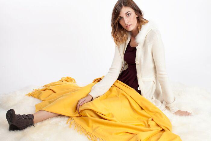 Sunflower Cashmere Throw Blanket