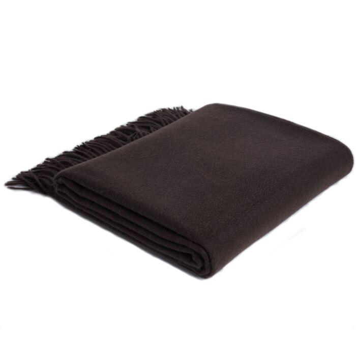 JENNIE LIU 100% Pure Cashmere Throw Blanket-Chocolate