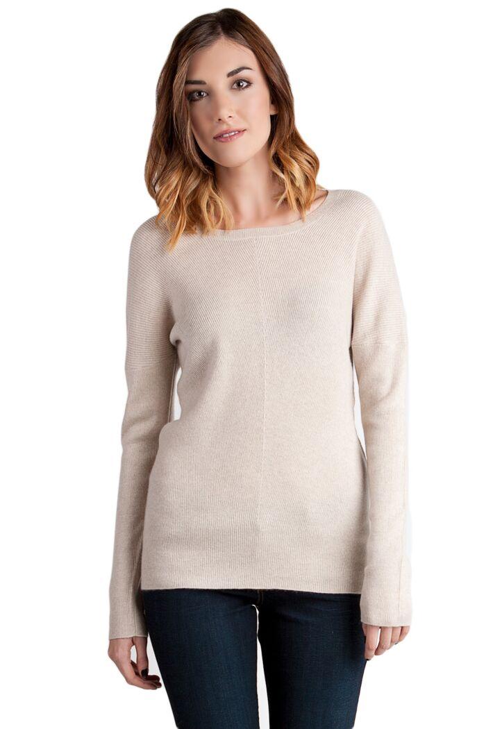 Oatmeal Cashmere Diagonal-Rib Dolman Sweater front view