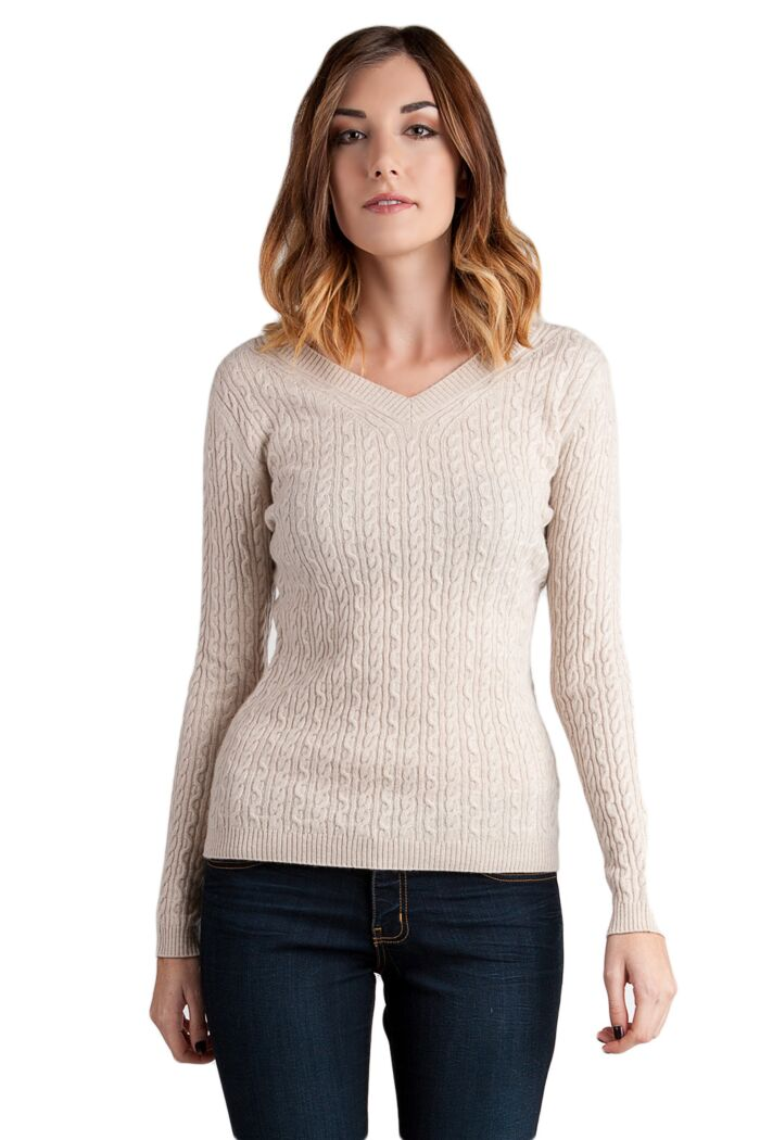Oatmeal Cashmere Cable-knit V-neck Sweater Front View