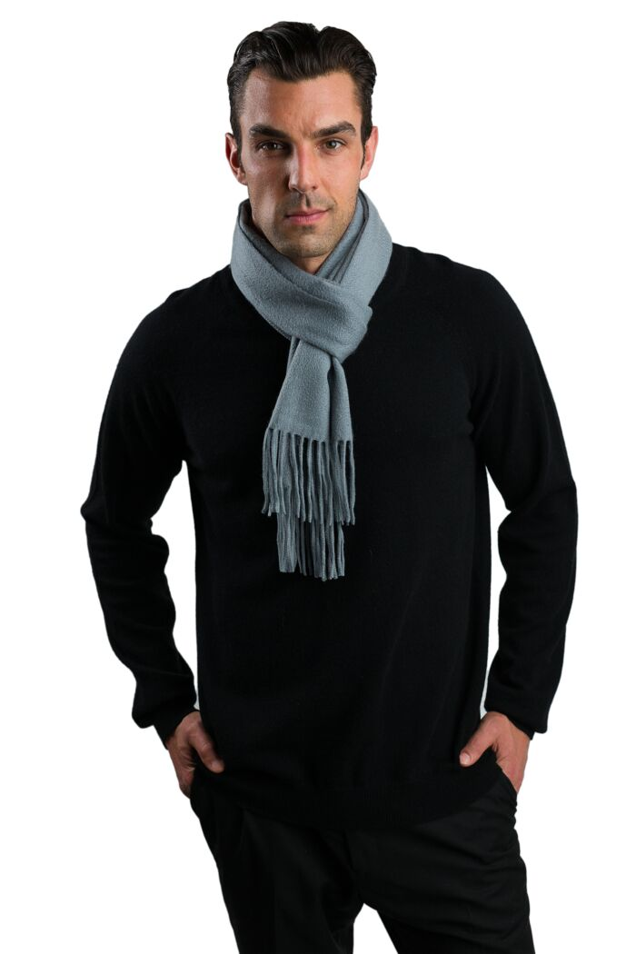 Silver Grey Men's Cashmere Scarf