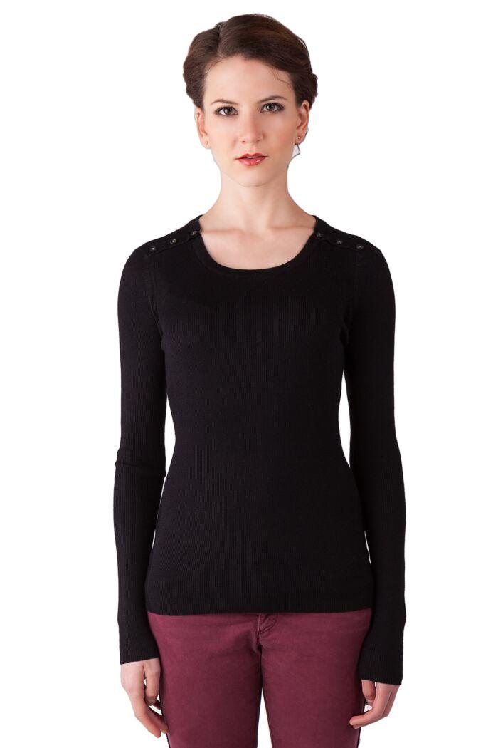 Black Cashmere Silk Feather Weight Crew Neck Henley Shirt Tee Front View