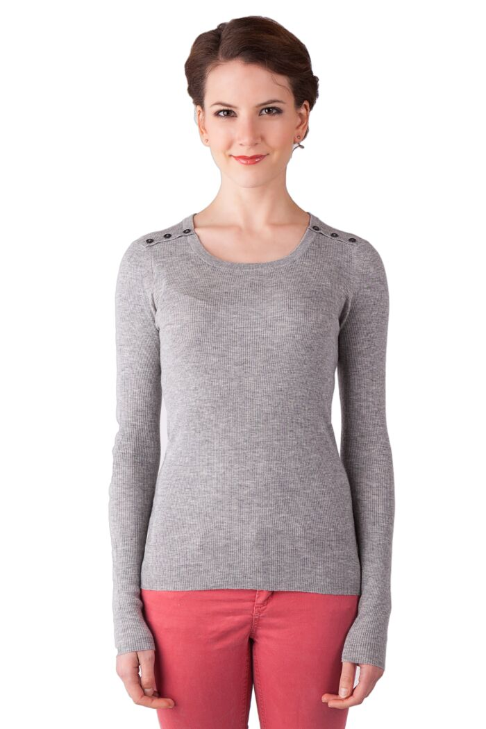 Grey Cashmere Silk Feather Weight Crew Neck Henley Shirt Tee Front View