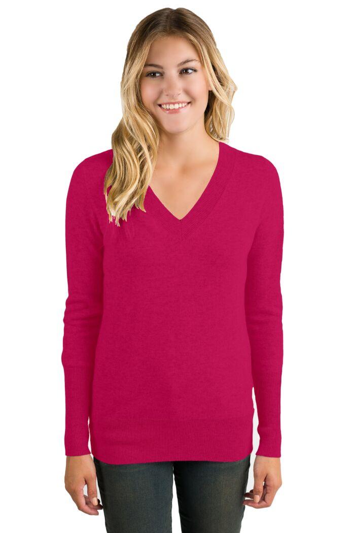 Hot Pink Cashmere Long Sleeve Ava V Neck Sweater