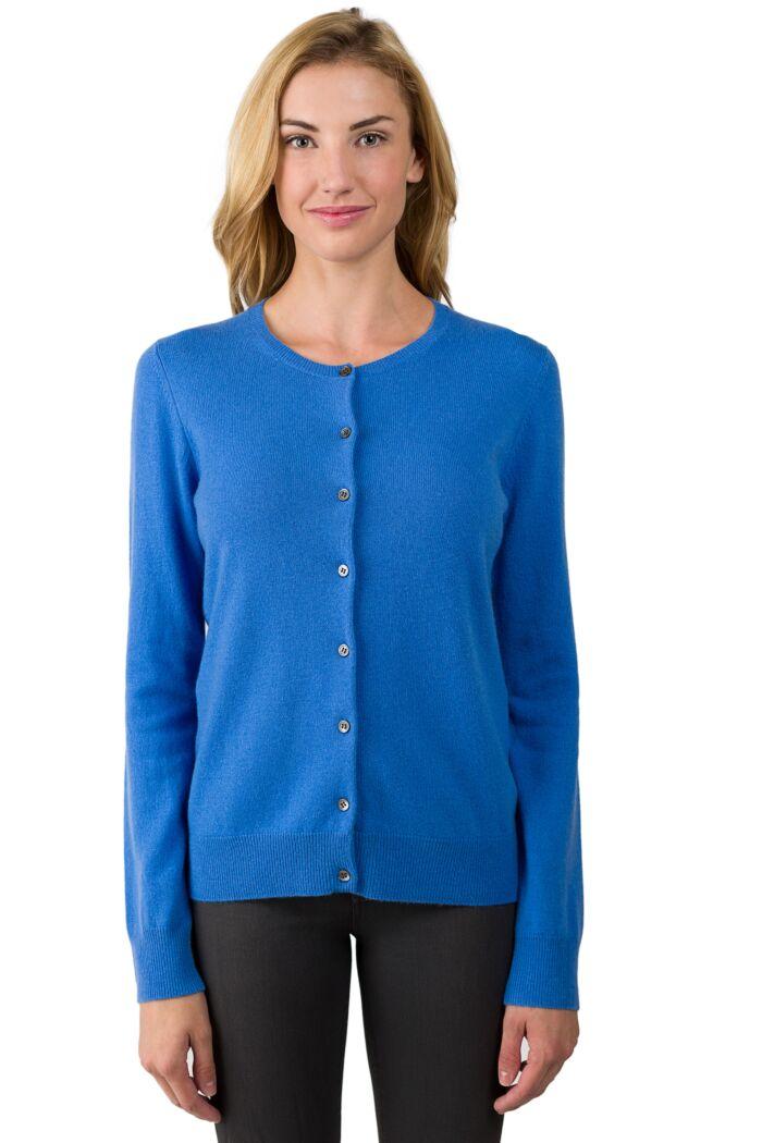 JENNIE LIU Women's 100% Cashmere Button Front Long Sleeve Crewneck Cardigan Sweater(S