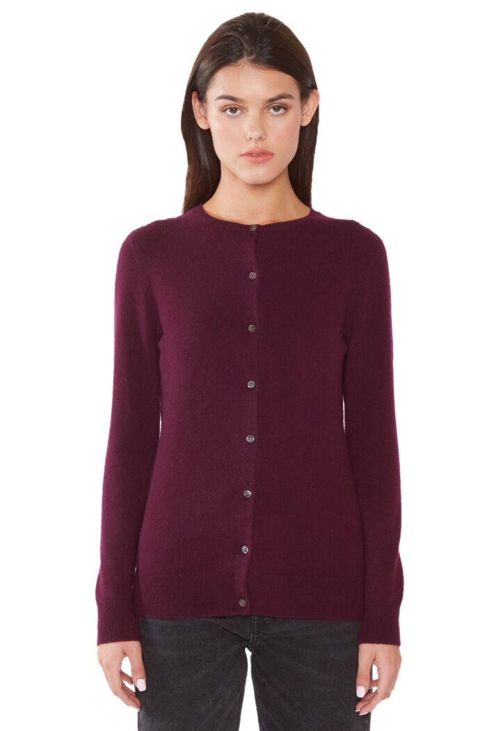 JENNIE LIU Women's 100% Cashmere Button Front Long Sleeve Crewneck Cardigan Sweater(L