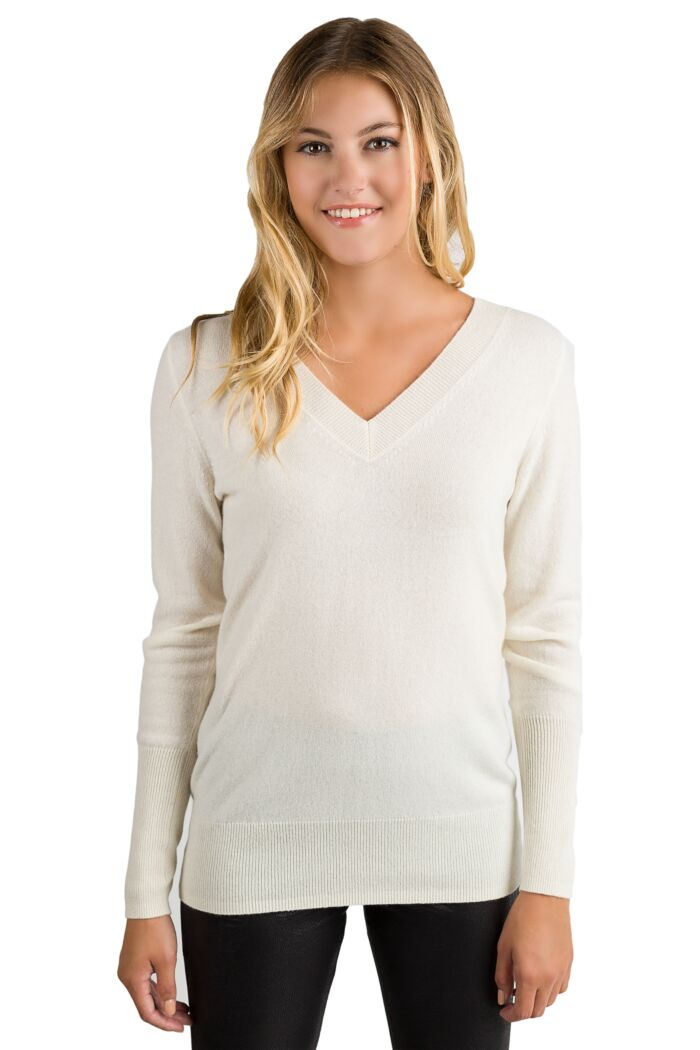 Cream Cashmere Long Sleeve Ava V Neck Sweater Front View