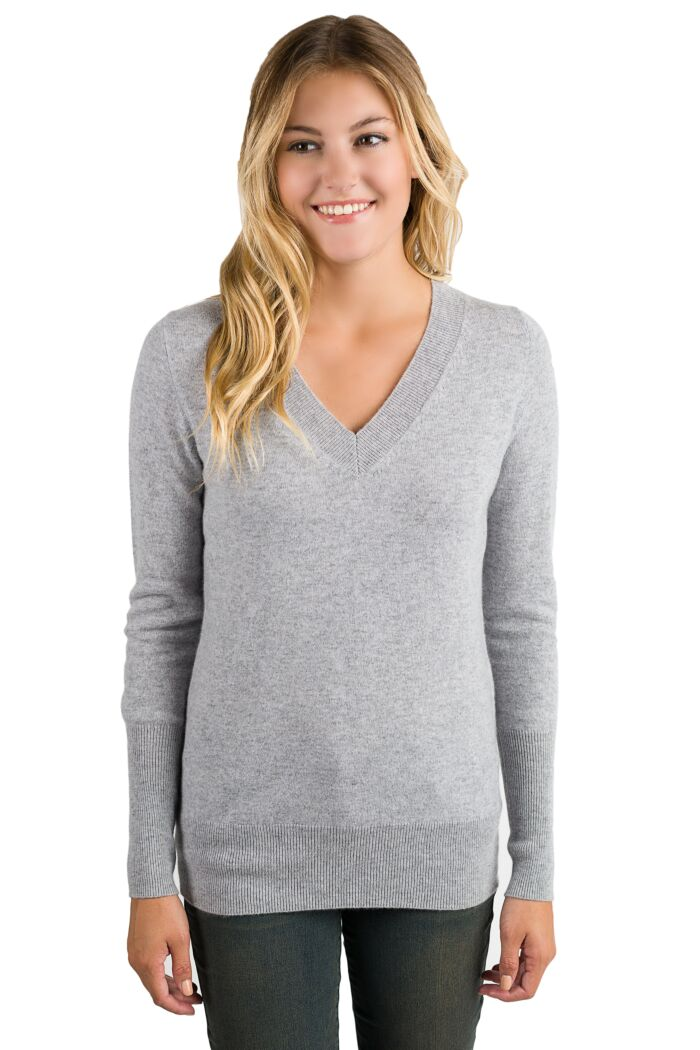 Grey Cashmere Long Sleeve Ava V Neck Sweater Front View