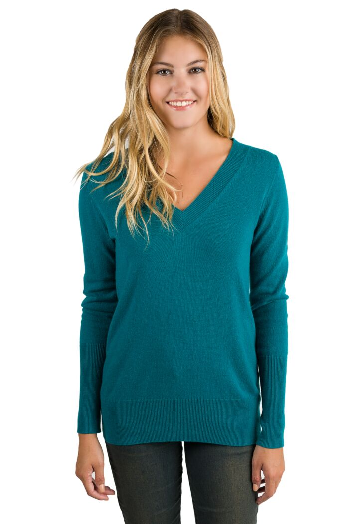 Teal Cashmere Long Sleeve Ava V Neck Sweater Front View